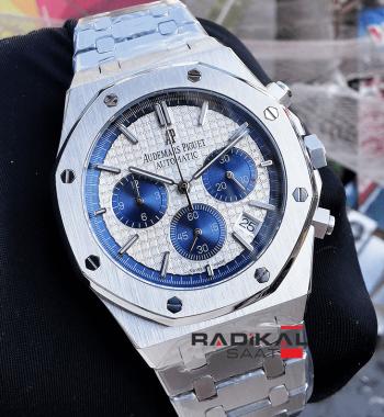 Audemars Piguet 41 MM Beyaz Kadran Quartz Mekanizma Replika Erkek Kol Saati
