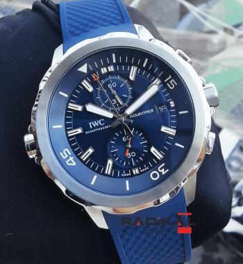 IWC Aquatimer Mavi Kadran Mavi Silikon Kordon Replika Erkek Kol Saati