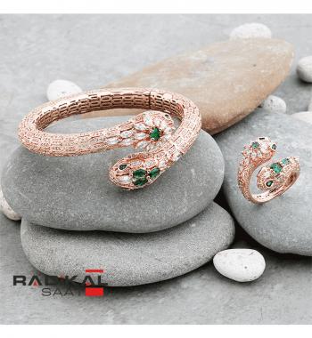 Bvlgari Serpenti Rose Renk Bayan Bilekliği ve Yüzük Seti
