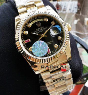 Rolex Day-Date Oyster Kordon Siyah Kadran Bayan Saati