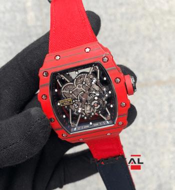 Richard Mille RM 35-02 Rafa Kırmızı Örgü Kordon Replika Erkek Kol Saati