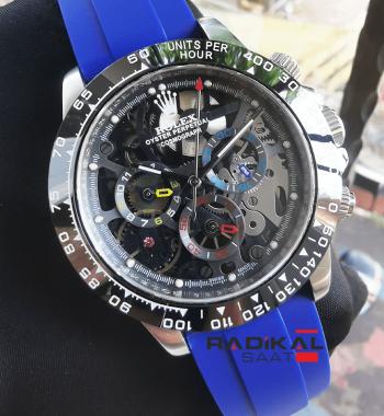 Rolex Daytona La Montoya Mavi Silikon Kordon Replika Erkek Kol Saati