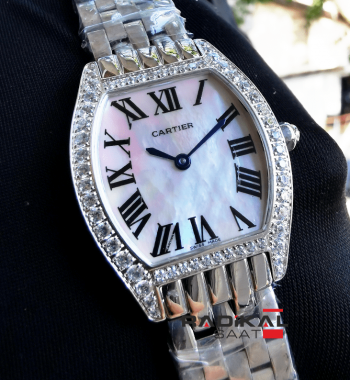 Cartier Tonneau Swarovski Taşlı Bayan Kol Saati