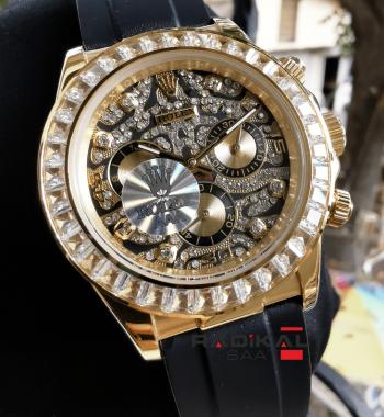 Rolex Daytona Gold Baget Taşlı Unisex Replika Kol Saati