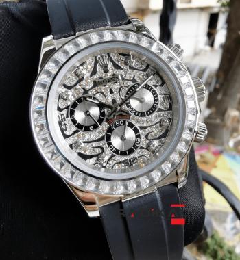 Rolex Daytona Silver Baget Taşlı Unisex Kol Saati