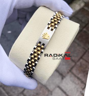 Rolex Baskılı Amblem Jubile Kordon Sarı Renk Erkek Bileklik Modelleri