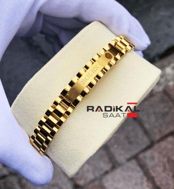 Rolex Yazılı Jubile Kordon Sarı Renk Erkek Bileklik Modelleri