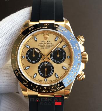 Rolex Daytona 116518 Noob Edition 904L 4130 Clone Siyah Kauçuk Kayış ETA