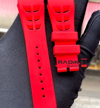 Richard Mille Vidalı Kırmızı Renk Silikon Saat Kordonu