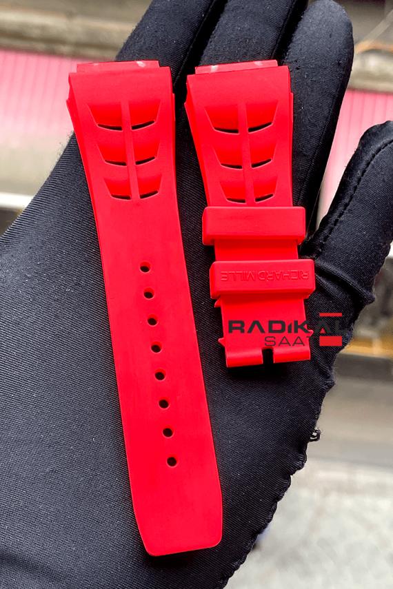 Richard Mille Vidalı Kırmızı Renk Saat Kordonu