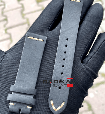 Rolex Deri Üstü Süet Siyah Saat Kordonu