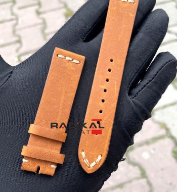 Rolex Deri Üstü Süet Taba Renk Saat Kordonu