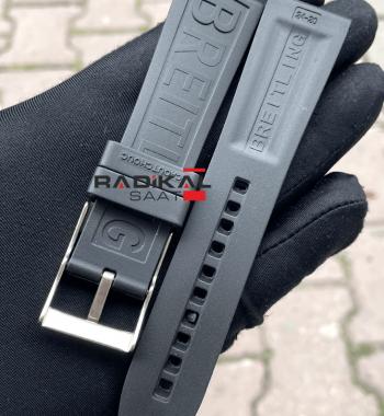 Breitling 24MM Siyah Silikon Saat Kordonu Tokalı