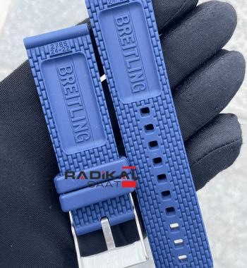 Breitling 24MM Mavi Silikon Saat Kordonu Tokalı