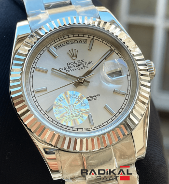Rolex Day-Date Beyaz Kadran Oyster Kordon 40mm Replika Saat