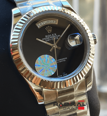 Rolex Day-Date Vartolu Siyah Kadran 40mm Replika Saat