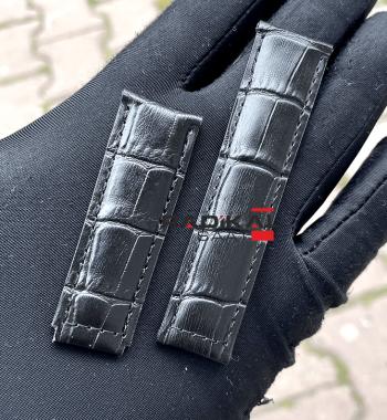 Rolex Siyah Deri Klips Uyumlu Saat Kordonu